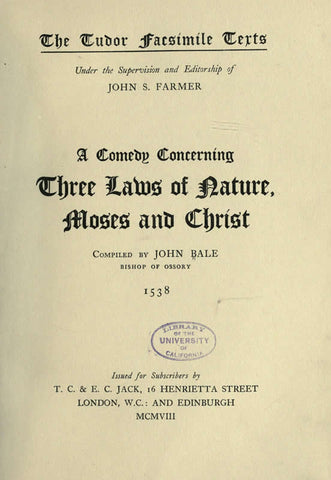 Comedy Concerning Three Laws Of Nature, Moses
