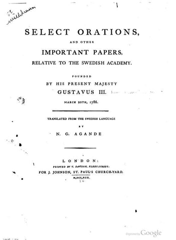 Select Orations, And Other Important Papers, Relative To The Swedish Academy