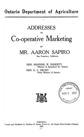 Addresses On Co-Operative Marketing
