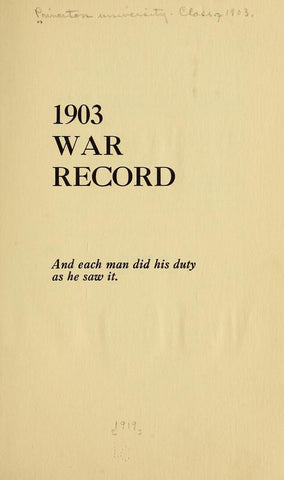 1903 War Record - Repressed Publishing - 1