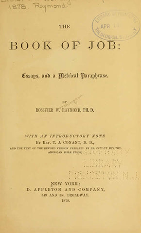 The Book Of Job: Essays And A Metrical Paraphrase