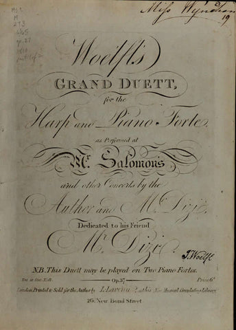 Woelfl's Grand Duett For The Harp And Piano Forte As Performed At Mr. Salomon's And Other Concerts By The Author And Mr. Dizi, Op. 37