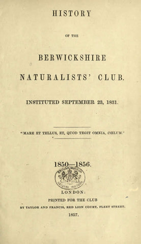 History Of The Berwickshire Naturalists' Club