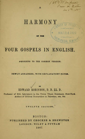 A Harmony Of The Four Gospels In English: According To The Common Version - Repressed Publishing - 1