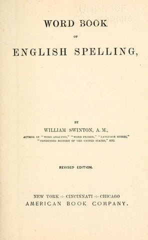 Word Book Of English Spelling
