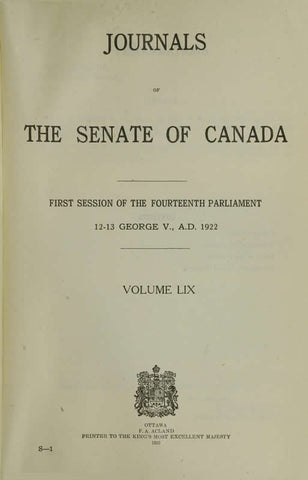 Journals Of The Senate Of Canada Volume 59