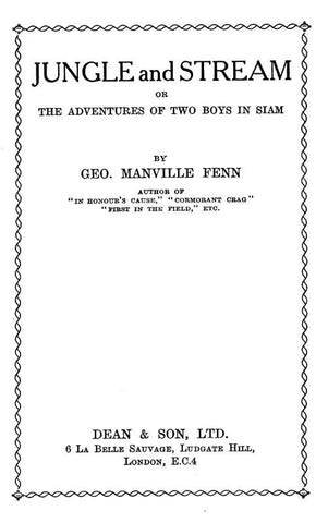 Jungle And Stream; Or, Two Boys In Siam