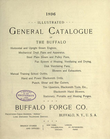 1896 Illustrated General Catalogue Of The Buffalo Horizontal And Upright Steam Engines, Mechanical Draft Fans And Apparatus, Steel Plate Steam And Pulley Fans, Fan System Of Heating, Ventilating Fans, Blowers And Exhausters - Repressed Publishing - 1