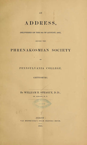 An Address, Delivered Before The Phrenakosmian Society