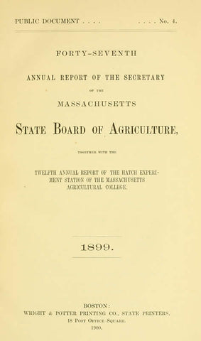 Annual Report Of The Secretary Of The Board Of Agriculture