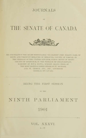 Journals Of The Senate Of Canada Volume 36