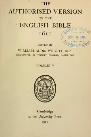 The Authorized Version Of The English Bible 1611