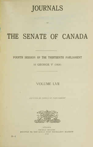 Journals Of The Senate Of Canada Volume 57