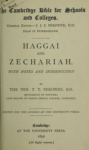 Haggai And Zechariah: With Notes And Introduction