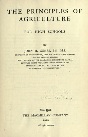 The Principles Of Agriculture For High Schools
