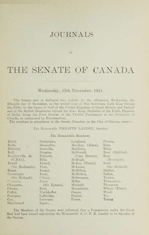 Journals Of The Senate Of Canada Volume 47 Appendix 1 And 2