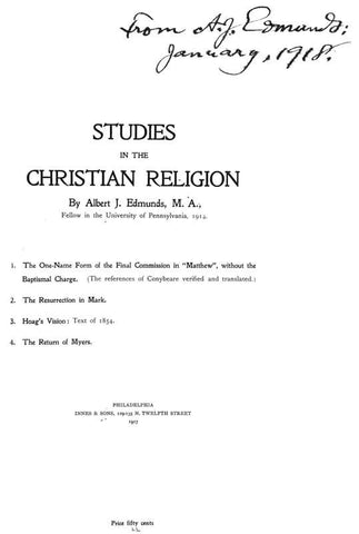 Studies In The Christian Religion