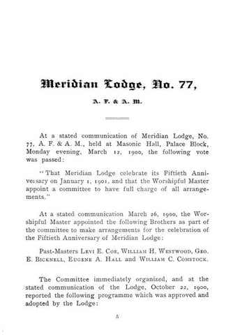 1851-1901. Fiftieth Anniversary Of Meridian Lodge, No. 77, Ancient Free And Accepted Masons. Meriden, Connecticut, January First, Nineteen Hundred And One - Repressed Publishing - 1
