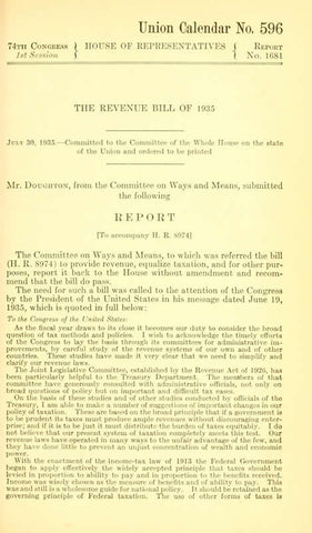 P.L. 74-407 Revenue Act Of 1935