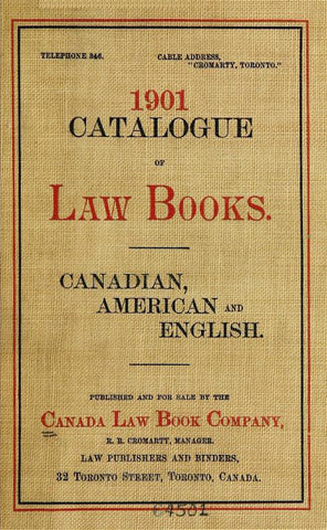 1901 Catalogue Of Law Books: Canadian, American And English - Repressed Publishing - 1