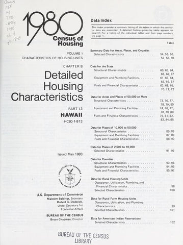 1980 Census Of Housing. Detailed Housing Characteristics. Hawaii - Repressed Publishing - 1