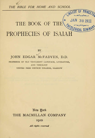 The Book Of The Prophecies Of Isaiah