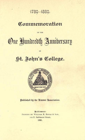 1789-1889. Commemoration Of The One Hundredth Anniversary Of St. John's College - Repressed Publishing - 1