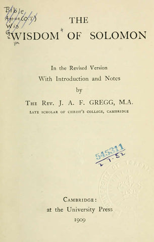 The Wisdom Of Solomon: In The Revised Version