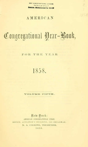 American Congregational Year Book For The Year 1858