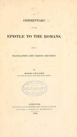 A Commentary On The Epistle To The Romans: With A Translation And Various Excursus - Repressed Publishing - 1