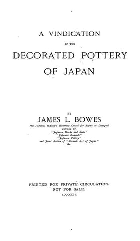 A Vindication Of The Decorated Pottery Of Japan