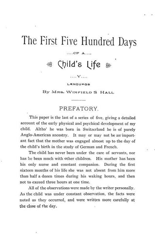 The First Five Hundred Days Of A Child's Life: V. Language