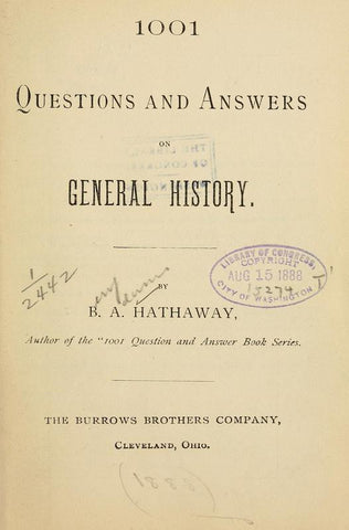 1001 Questions And Answers On General History - Repressed Publishing - 1
