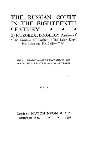 The Russian Court In The Eighteenth Century