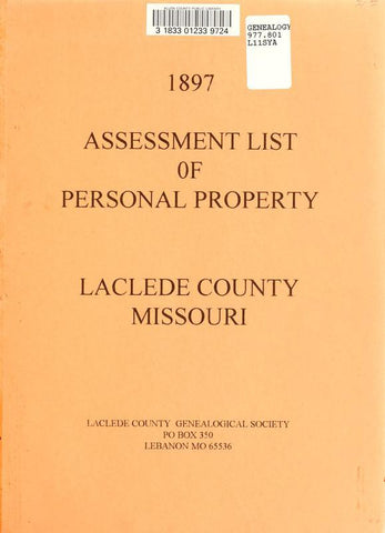 1897 Assessment List Of Personal Property, Laclede County, Missouri - Repressed Publishing - 1
