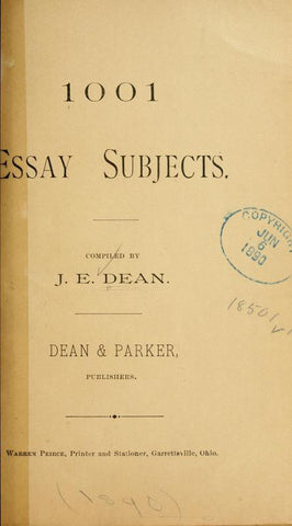 1001 Essay Subjects - Repressed Publishing - 1
