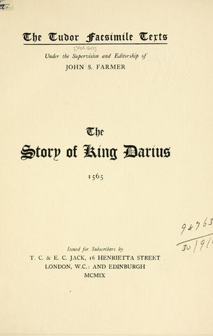 The Story Of King Darius, 1565
