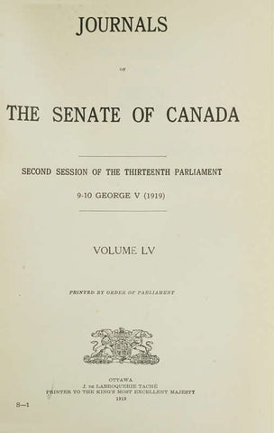 Journals Of The Senate Of Canada Volume 55