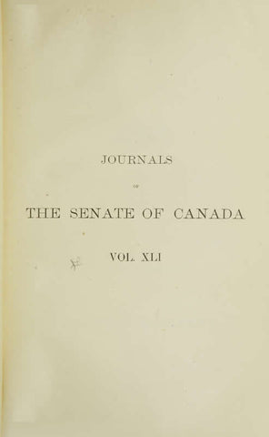 Journals Of The Senate Of Canada Volume 41