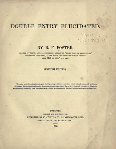 Double Entry Elucidated