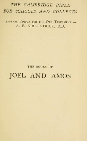 The Books Of Joel And Amos
