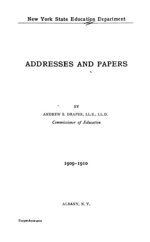 Addresses And Papers