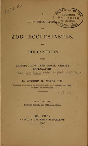 A New Translation Of Job, Ecclesiastes, And The Canticles