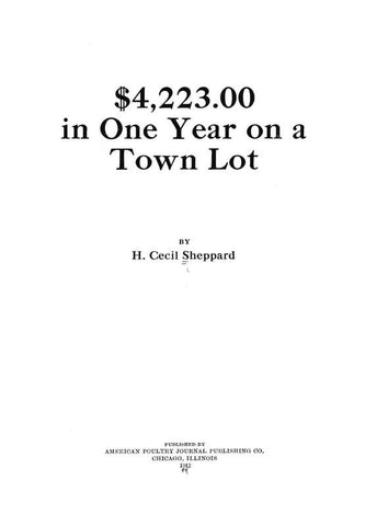 $4,223.00 In One Year On A Town Lot - Repressed Publishing - 1