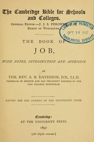 The Book Of Job, With Notes, Introduction And Appendix