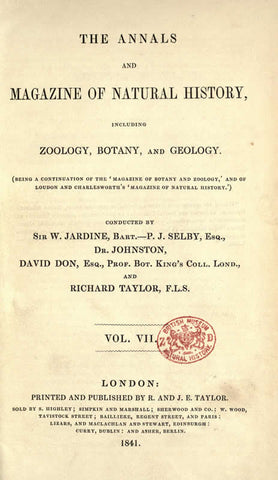 Annals And Magazine Of Natural History: Including Zoology, Botany And Geology