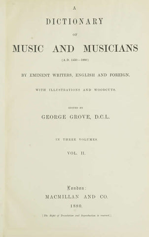 A Dictionary Of Music And Musicians A.D. 1450-1880 Volume 2 - Repressed Publishing - 1
