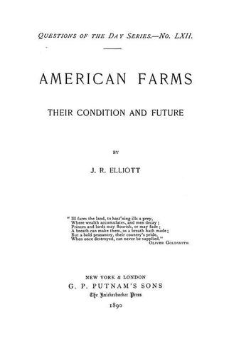 American Farms; Their Condition And Future