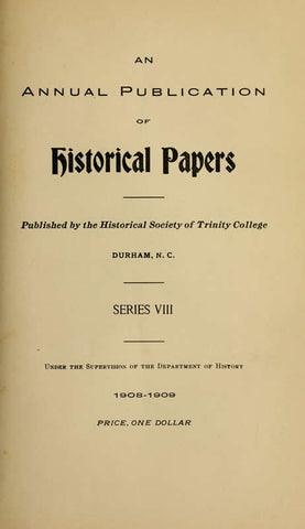 Historical Papers Of The Trinity College Historical Society Serial