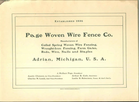 Page Woven Wire Fence Company